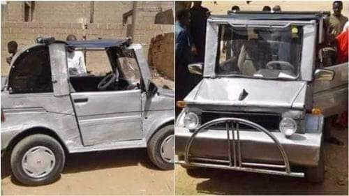 Wow! Young Nigerian Man Constructs Unique Vehicle Using Local Materials (Photos)
