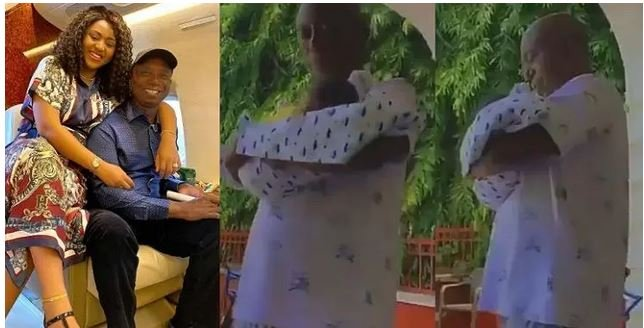 Video Of Regina Daniels Hubby, Ned Nwoko, Cradling Their Newborn Son, Munir