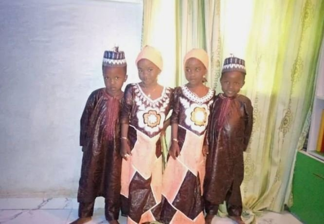 Incredible! Nigerian Twin Brothers Who Married Twin Sisters Welcome Twin Boys & Girls (Photos)