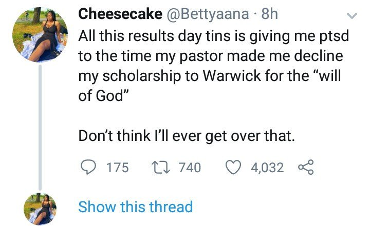 Woman narrates how she gave up a scholarship to a foreign University because a Nigerian pastor told her it's not God's will