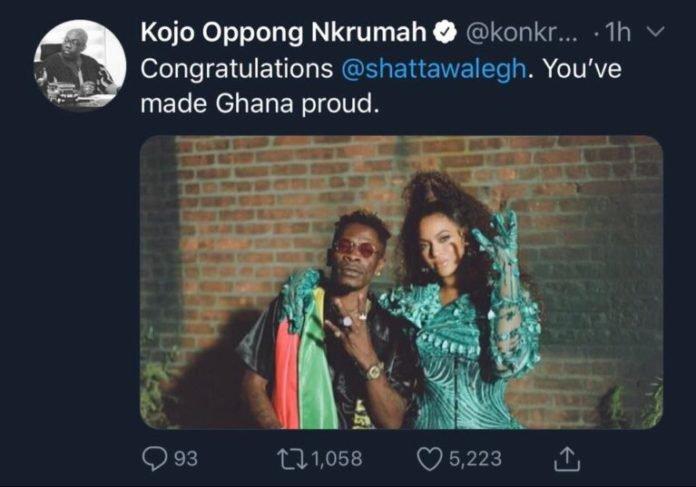 You've made Ghana proud – Kojo Oppong Nkrumah to Shatta Wale
