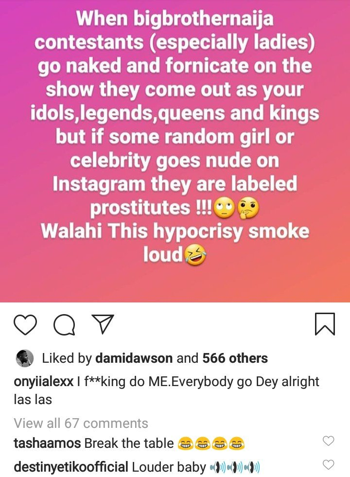 BbNaija stars are labeled idols for fornicating on TV but celebrities are called prostitutes if we pose nude – Actress Onyi Alex laments