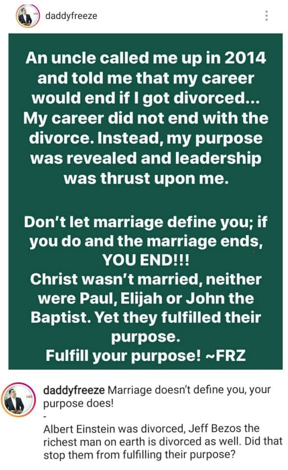 """""""Albert Einstein And Jeff Bezos Are Divorced"""" Freeze Says As He Claims It's Unscriptural To Ridicle The Divorced, Single And Barren"""