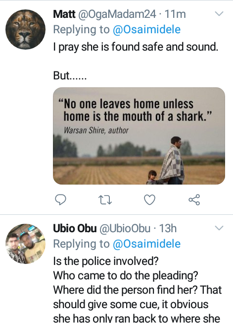 """""""No one leaves home unless home is the mouth of a shark""""- Nigerians raise questions over missing 16-year-old adopted girl"""