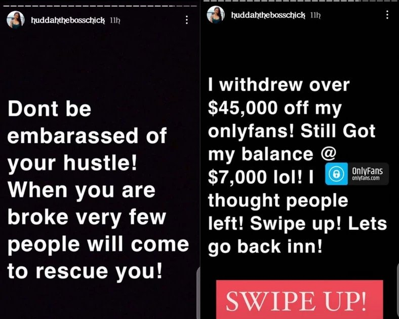 Don't be embarrassed by your hustle – Huddah Monroe reveals she made N20m from sharing her nude photos and videos on OnlyFans