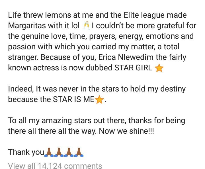 """It was a sad moment for me"" Erica Nlewedim writes in first Instagram post since being disqualified from the Big Brother Naija reality show"