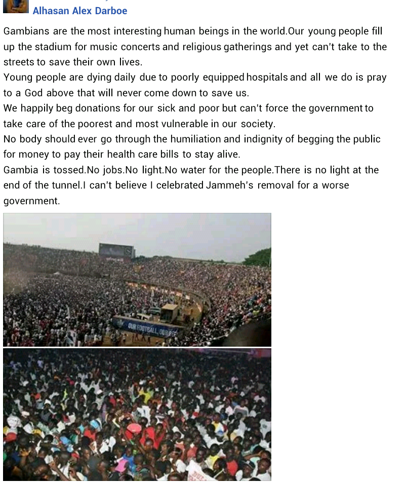 """""""Our young people fill up stadium for music concerts yet can't take to the streets to save their own lives"""" – Gambian journalist slams youths in his country"""