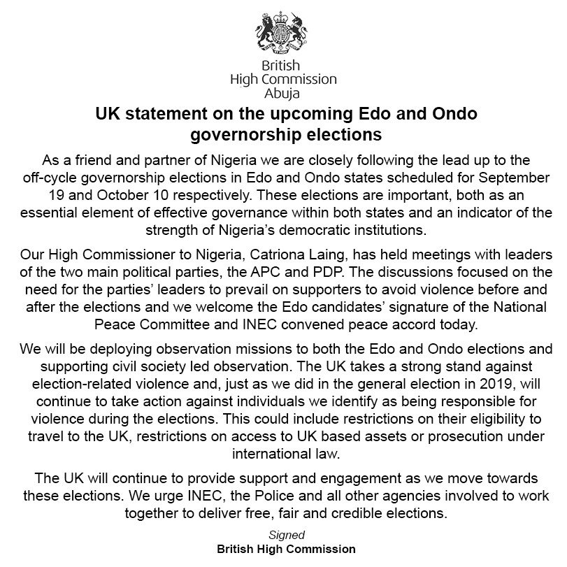 Edo/Ondo election: UK threatens electoral violence masterminds with visa ban and asset seizure