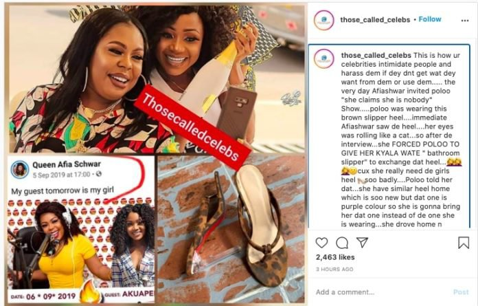 Afia Schwarzenegger practically begged for my nice slippers – Akuapem Poloo reveals