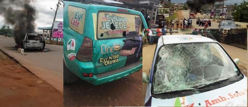 Ondo Poll: Five Injured, Vehicle Burnt As Akeredolu, Jegede Supporters Clash