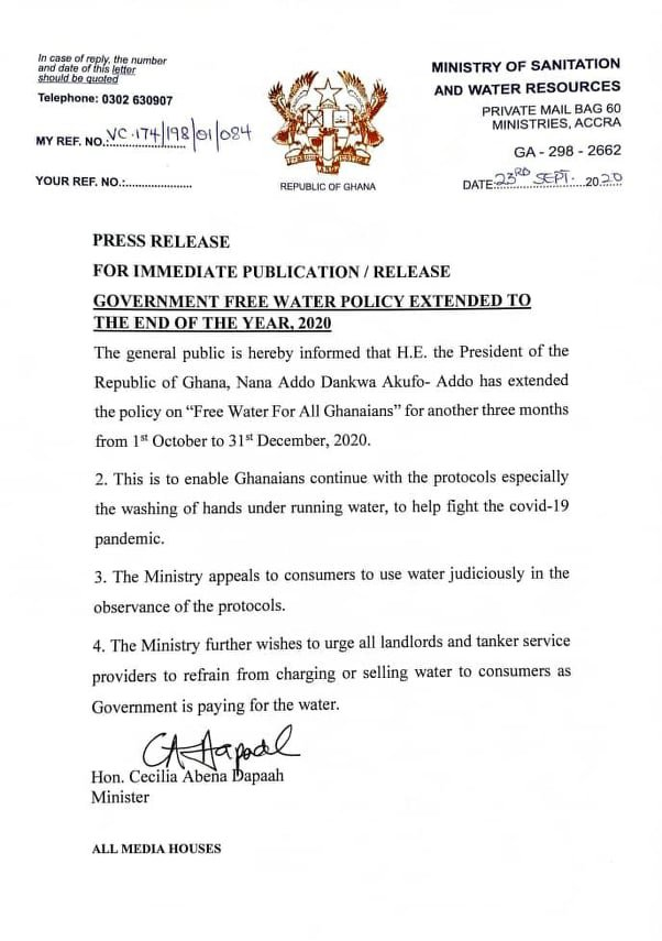 Government extends free  supply of water to December 31st 2020 in Ghana