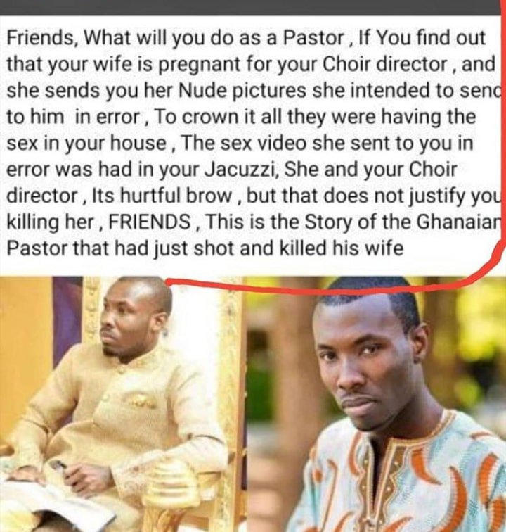 Ghanaian pastor's wife shot by husband was allegedly said to be pregnant for choir director,according to Reports