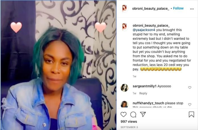 Yaa Jackson exposed by a beautician she owes