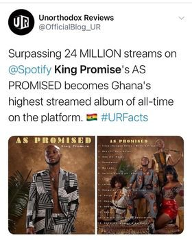 King Promise's AS Promised album sets all time record on Spotify