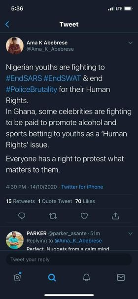 Nigerian youth fight to end SARS but Ghanaians are fighting over ban on betting and alcohol- Ama K. Abebrese
