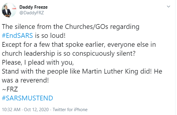 """""""The Silence From Churches And General Overseers Regarding #EndSARS Is So Loud"""" – Freeze Says"""