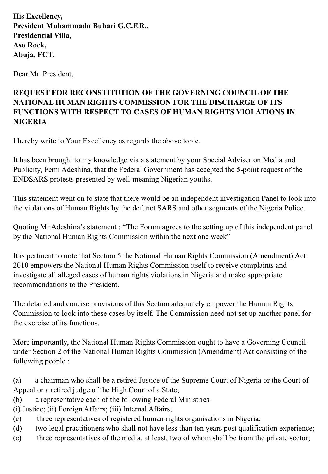 Rapper, Falz Writes Open Letter To President Buhari, Seeks Reconstitution Of The National Human Rights Commissions Board