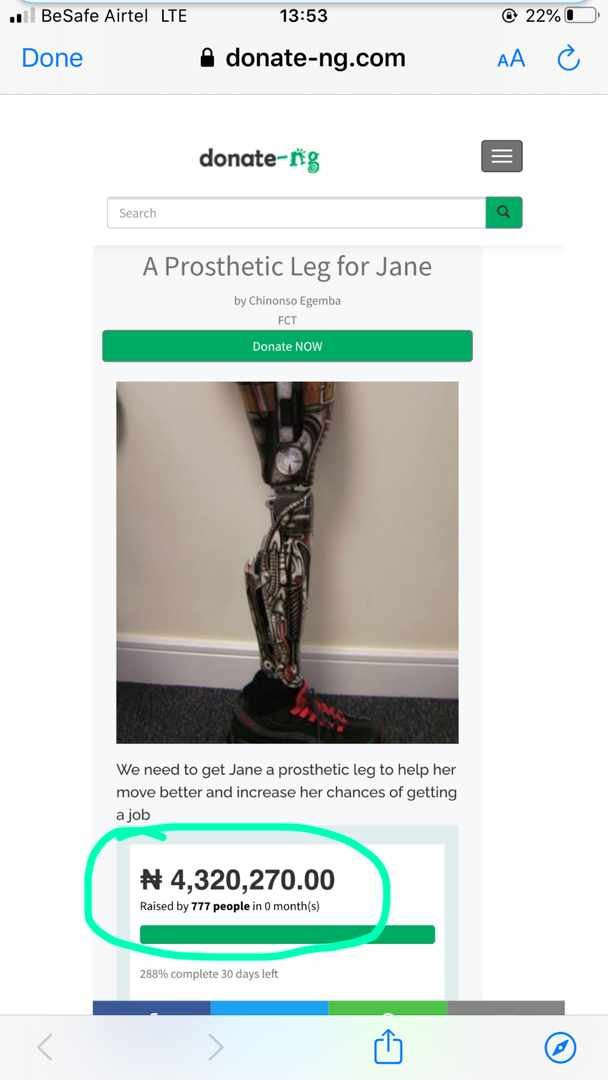 Nigerian Youths Raise N4.1 Million To Buy Prosthetic Leg For #EndSARS Protester Without Limb (photos)