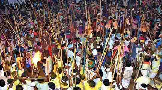 BLOODY NIGHT! See The Indian Festival Where Hundreds Of Men Hit Each Other's Heads With Long Sticks