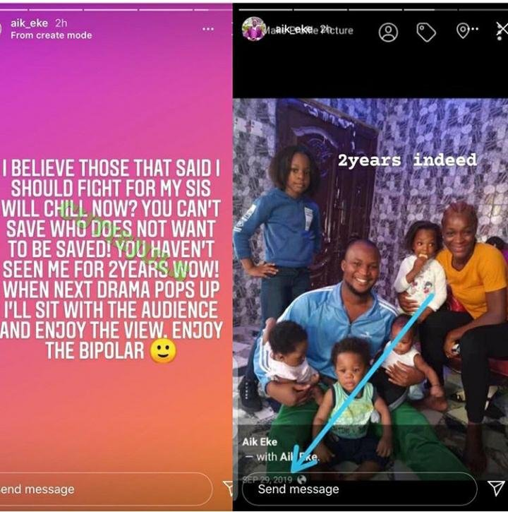 'You Can't Save Someone Who Doesn't Want To Be Saved' – Chacha Eke's Brother Gives Up On His Sister