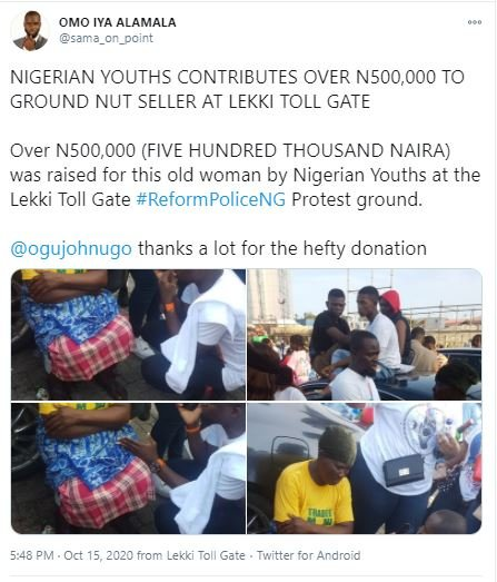 Nigerian Youths Raise Over N2million For Groundnut Seller During #EndSARS Protest In Lagos (Photos)