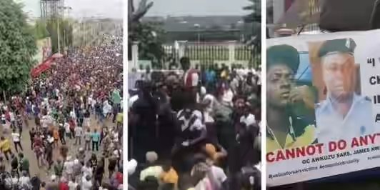 Video Of #EndSARS Protesters In Awka On Their Way To Awkuzu SARS
