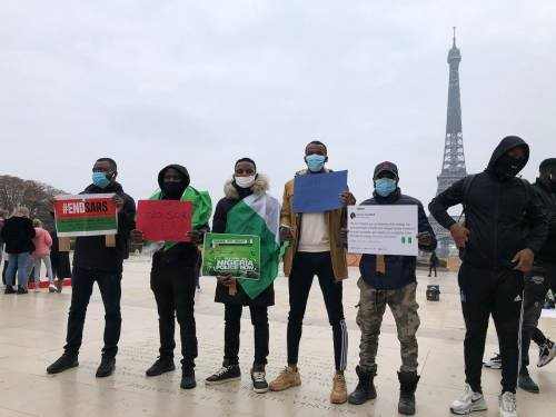 BREAKING: Musicians, Others Turn Up As #EndSARS Protest Continues For Second Day In France