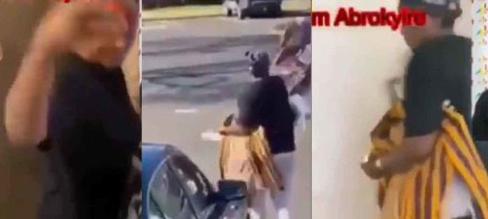 US based Ghanaian woman ejects husband, throws his clothes on the streets