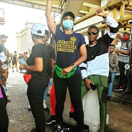 Photos Of Popular Actress, Kate Henshaw At Lagos #EndSARS Protest