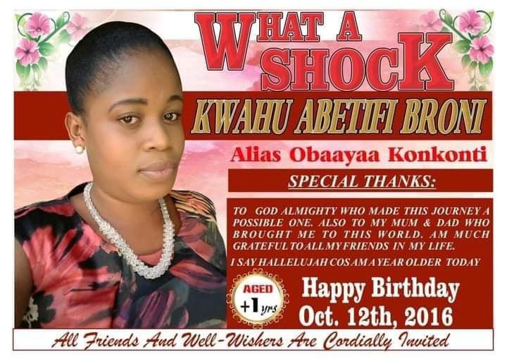 Lady seen celebrating her birthday with a funeral poster