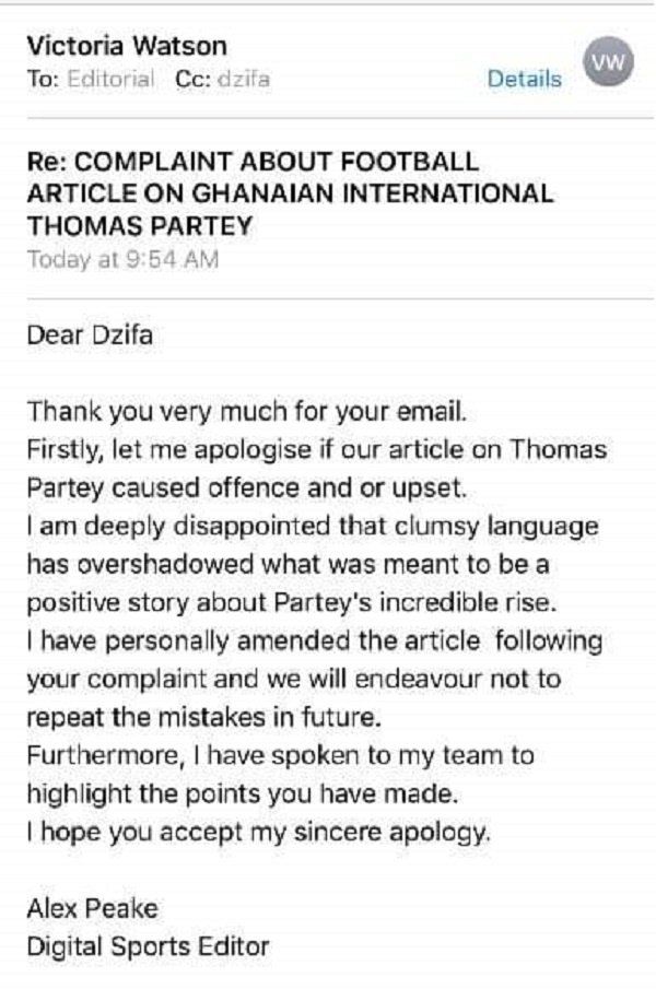 UK newspaper apologizes to Ghana footballer, Thomas Partey after calling him poor