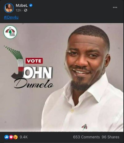 Mzbel campaigns for John Dumelo to win Ayawaso West seat for the NDC