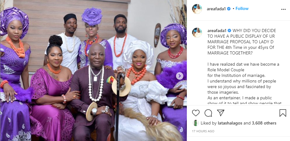 I realized we have become a role model couple for Institution of marriage – Charly Boy explains why he publicly proposed to his wife for the 4th time in 45 years of marriage