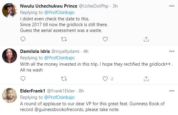 """'Have you found the solution yet?"""" Nigerians tackle VP Yemi Osinbajo after digging up old photos of him having an aerial view of Apapa gridlock"""