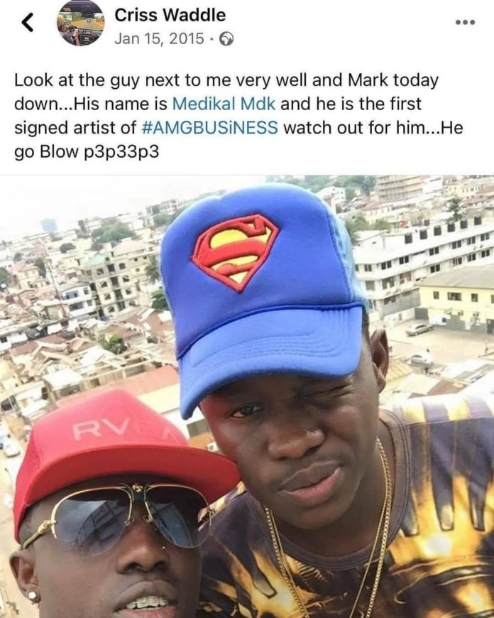 Criss Waddle's post about Medikal becoming a big shot in Ghana 6 years ago resurfaces