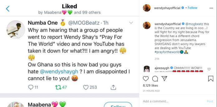 "Wendy Shay fights for the restoration of her song ""pray for the world on YouTube"