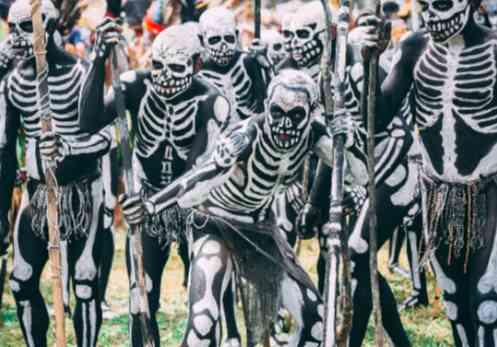 SCARY!!! Meet Terrifying Chimbu skeleton people of Papua New Guinea