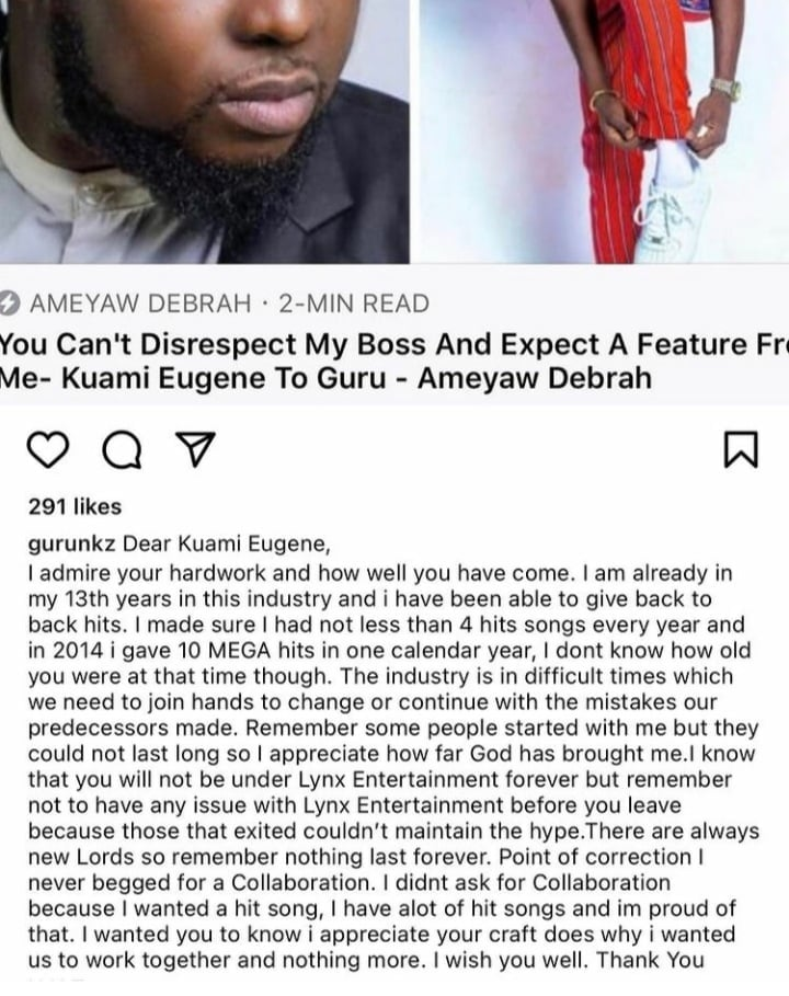 Guru lectures Kuami Eugene for Refusing to  feature on his song