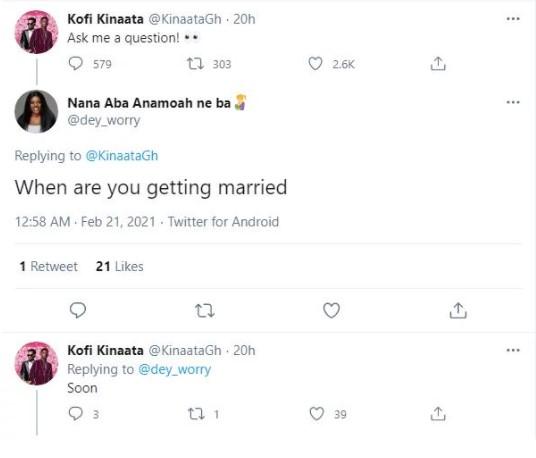 Kofi Kinaata reveals when he will get married