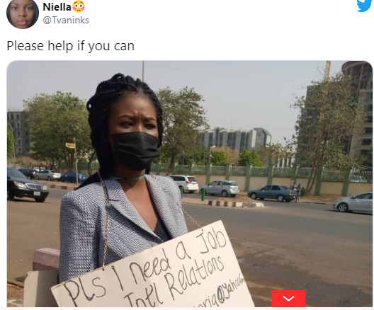 Frustrated lady hits the street with cardboard  seek for  job, stirs massive reaction