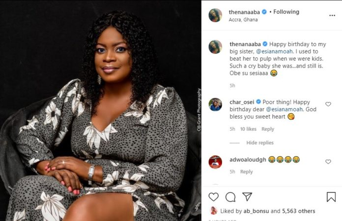 Nana Aba Anamoah  Flaunts her beautiful elder sister for the first time as she celebrates her birthday