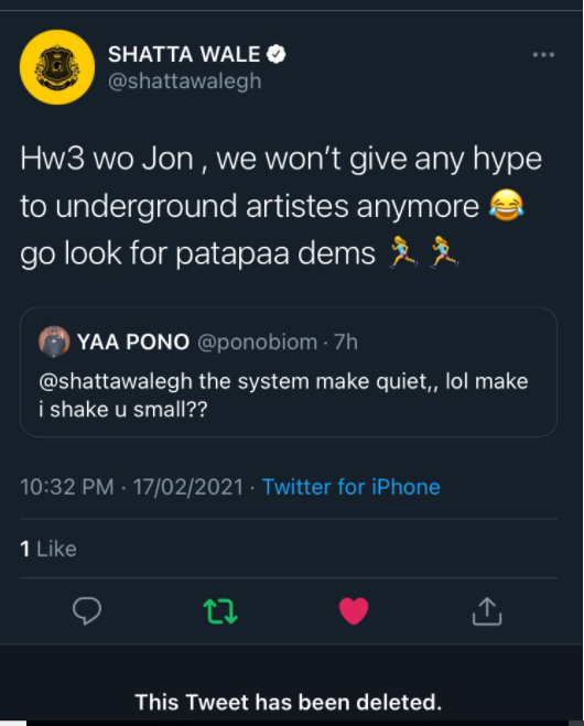 Shatta Wale insults Yaa Pono in an harmless exchange started by Pono
