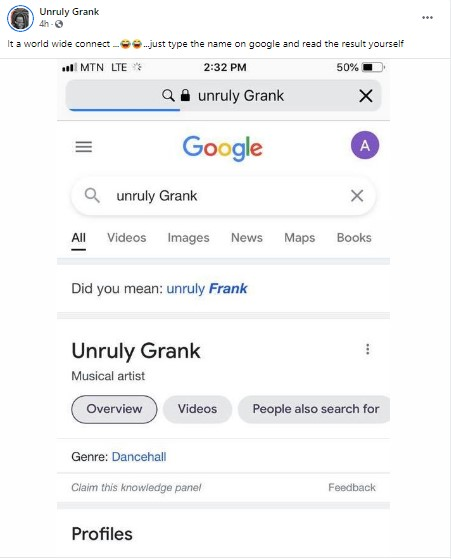 Last post from Cape Coast artiste, Unruly Gully Grank before his death