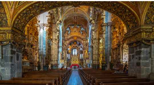 Inside The Saint Francis Gothic Church In Porto Decorated With 650s Pound Of Gold