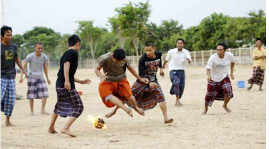 SEPAK BOLA API | A Football Game Where Teenagers Play Fireball With Their Bare Foot 🤯