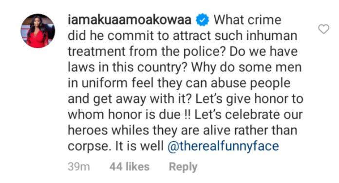 Akua GMB rebukes Ghana Police for rough handling Funny Face