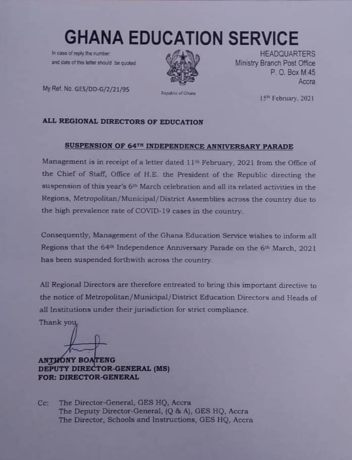 Akufo-Addo suspends celebration that takes place on the 6th of March in Ghana