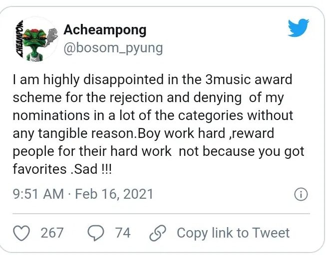 Bosum Pyung shows his disappointment over 3music awards for rejecting his nomination