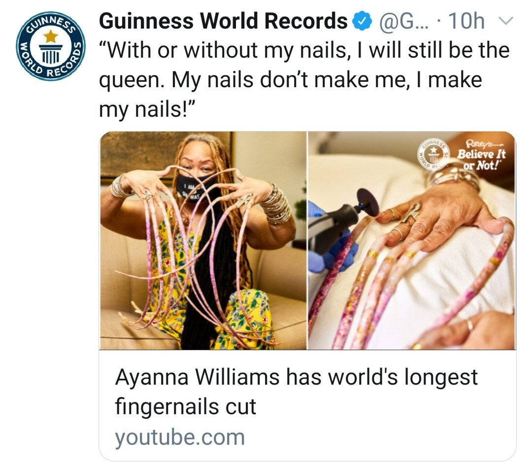Woman with the world's longest nails cuts them after nearly 30 years