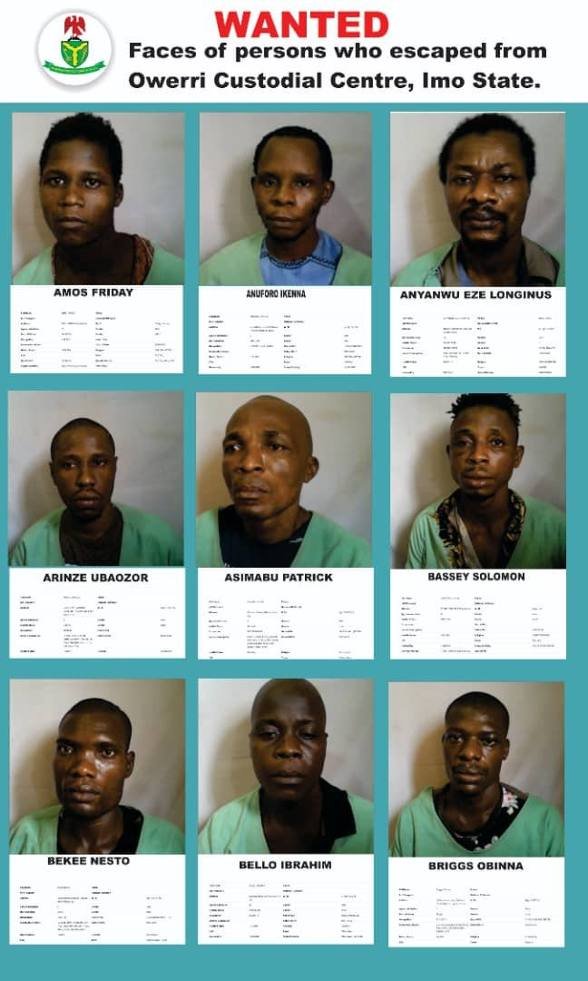Imo: Nigeria Correctional Service releases more names, photos of escaped inmates